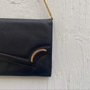 Vintage Leather Clutch with gold chain